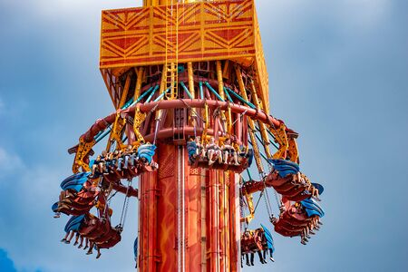 Tampa Bay, Florida. April 28, 2019. Falling from the sky at Falcons Fury attraction in Busch Gardens (7) Editorial