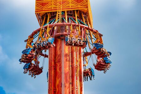 Tampa Bay, Florida. April 28, 2019. Falling from the sky at Falcons Fury attraction in Busch Gardens (8) Editorial