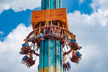 Tampa Bay, Florida. April 28, 2019. Falling from the sky at Falcons Fury attraction in Busch Gardens (10) Editorial