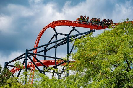 Tampa Bay, Florida. April 30 2019.People enjoying an innovative experience in Tigris rollercoaster at Busch Gardens (3)