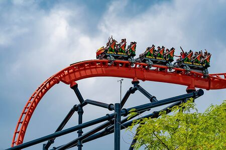 Tampa Bay, Florida. April 30 2019.People enjoying an innovative experience in Tigris rollercoaster at Busch Gardens (4)