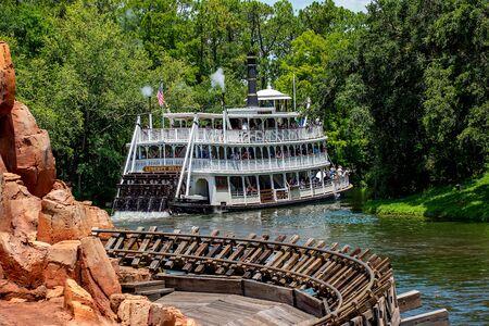 Orlando, Florida. May 10, 2019. Beautiful view of Liberty Square River Boat in Magic Kingdom at Walt Disney World (1) Redakční