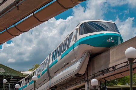Orlando, Florida. May 10, 2019. Top view of Monorail in Magic Kingdom at Walt Disney World.