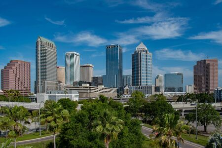 Tampa Bay, Florida. April 28, 2019. Aerial view of Downtown Tampa on sunrise background (2)