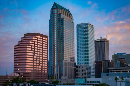 Tampa Bay, Florida. April 28, 2019. Aerial view of Downtown Tampa on sunrise (4) Editorial