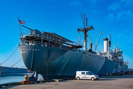 Tampa Bay, Florida. April 28, 2019. American Victory Ship and Museum at Tampa Bay Port.