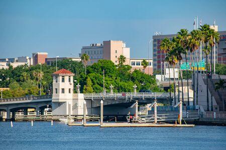 Tampa Bay, Florida. April 28, 2019. Bridge on Hillsborough river in downtown area.