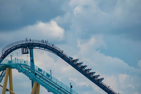 Orlando, Florida. June 06, 2019 People having fun amazing Mako rollercoaster at Seaworld in International Drive area (2)