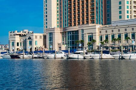 Tampa Bay, Florida. April 28, 2019. Luxury boats and Marriott Water Street Hotel on Hillsborough river (2)