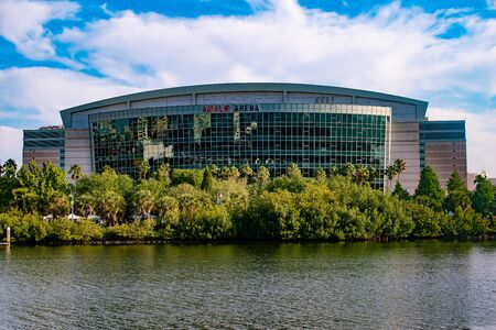 Tampa Bay, Florida. April 28, 2019. Panoramic view of Amalie Arena on cloudy lightblue sky background (1)