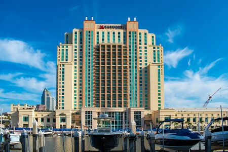 Tampa Bay, Florida. April 28, 2019. Panoramic view of Tampa Marriott Water Street on lightblue sky background in downtown area (2)