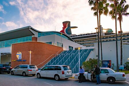 Tampa Bay, Florida. April 28, 2019. Partial view of Carnival Miracle cruise at Tampa Bay Port. Editorial