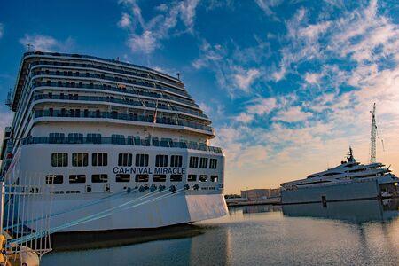 Tampa Bay, Florida. April 28, 2019. Partial view of Carnival Miracle on Cruise Terminal 3 at Port (1)