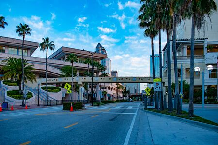 Tampa Bay, Florida. April 28, 2019. Partial view of Convention Center in S Harbor Island Blvd. Editorial