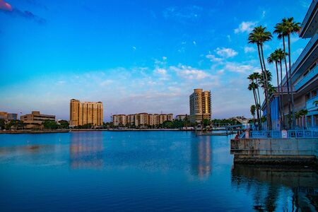 Tampa Bay, Florida. April 28, 2019. Partial view of Convention Center on Hillsborough river.