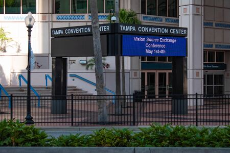Tampa Bay, Florida. April 28, 2019. Partial view of Tampa Convention Center. Editorial