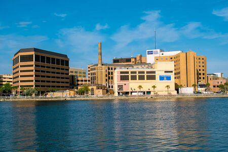 Tampa Bay, Florida. April 28, 2019. Partial view of Tampa General Hospital and Hillsborough river.
