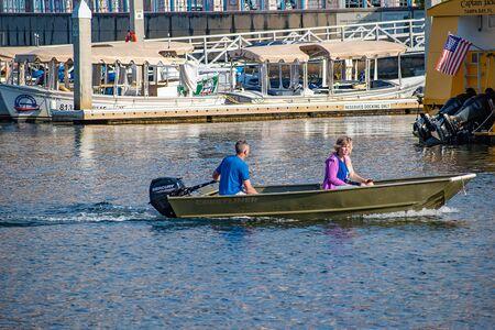 Tampa Bay, Florida. April 28, 2019. People sailing on bay boat on Hillsborough river.