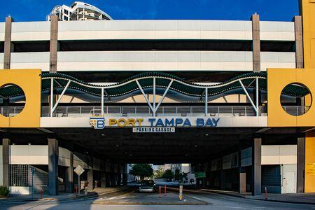 Tampa Bay, Florida. April 28, 2019. Port Tampa Bay Car park in Channelside street (1) Editorial