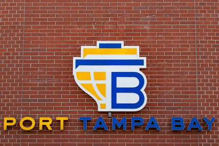 Tampa Bay, Florida. April 28, 2019. Port Tampa Bay sign on a white background. Editorial
