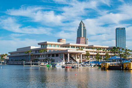 Tampa Bay, Florida. April 28, 2019. Tampa Convention Center and colorful taxi boats (4) Editorial