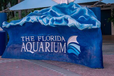 Tampa Bay, Florida. April 28, 2019. The Florida Aquarium sign.