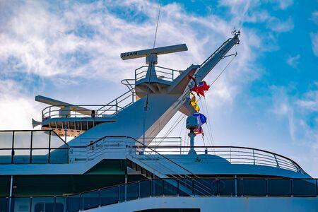 Tampa Bay, Florida. April 28, 2019. Top view of Carnival Miracle cruise at Tampa Bay Port (1)