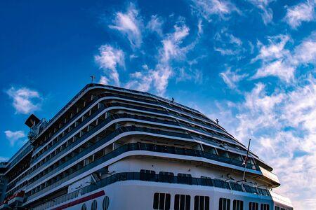 Tampa Bay, Florida. April 28, 2019. Top view of Carnival Miracle cruise in Port Tampa Bay.