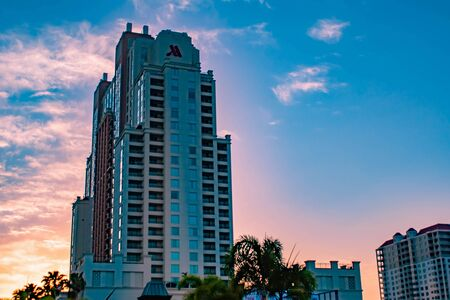 Tampa Bay, Florida. April 28, 2019 Top view of Tampa Marriot Water Street on sunrise background. Editorial