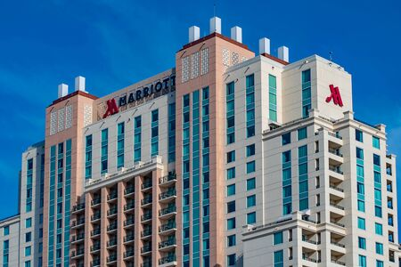 Tampa Bay, Florida. April 28, 2019. Top view of Tampa Marriott Water Street on lightblue sky background in downtown area 5 Editorial