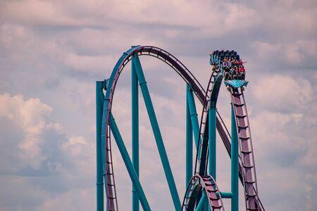 Orlando, Florida. July 01, 2019. Terrific view of people having fun Mako roller coaster at Seaworld 13
