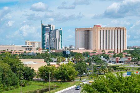 Orlando, Florida. July 01, 2019. Panoramic view of Hyatt Regency and Rosen Center from Aquatica tower in International Drive area 1 Редакционное