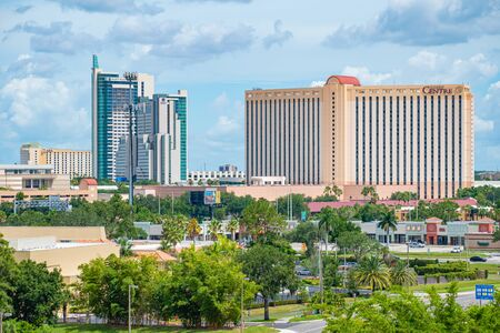Orlando, Florida. July 01, 2019. Panoramic view of Hyatt Regency and Rosen Center from Aquatica tower in International Drive area 2