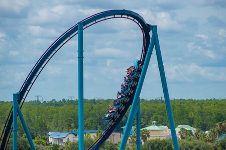 Orlando, Florida. June 30, 2019. Amazing view of people enjoying Mako rollercoaster at Seaworld 15