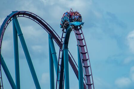 Orlando, Florida. June 30, 2019. Amazing view of people having fun Mako rollercoaster at Seaworld 3