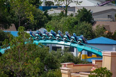 Orlando, Florida. June 30, 2019. Terrific view of people enjoying Kraken rollercoaster at Seaworld 7