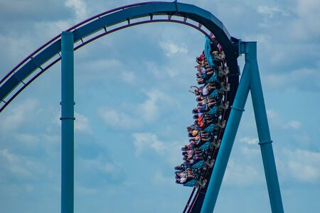 Orlando, Florida. June 30, 2019. Terrific view of people enjoying Mako rollercoaster at Seaworld 12
