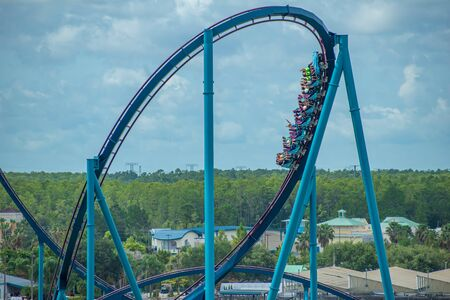 Orlando, Florida. June 30, 2019.Terrific view of people having fun Mako roller coaster at Seaworld 5
