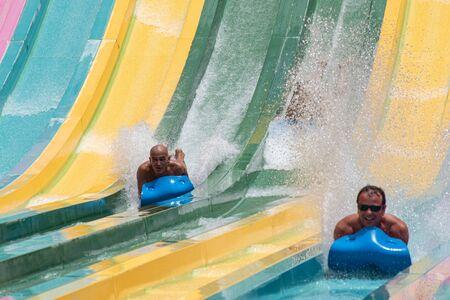 Orlando, Florida. July 01, 2019. People enjoying amazing Tamauta Racer attraction at Aquatica 3