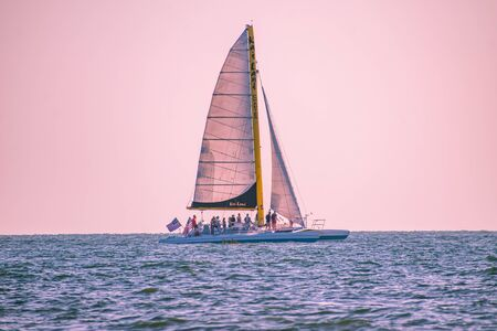 Clearwater Beach, Florida. June 24, 2019. People enjoying of sailboat at Pier 60 area 13
