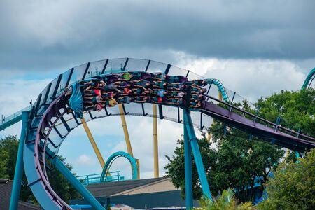 Orlando, Florida. June 17, 2019. People enjoying amazing Mako rollercoaster at Seaworld. 7