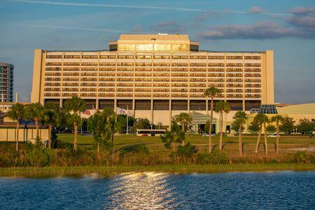 Orlando, Florida. June 03. 2019. Panoramic view of Contemporary Resort in Walt Disney World area 1