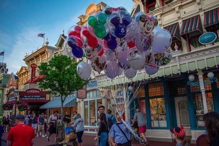 Orlando, Florida. June 03. 2019. Top view of Disney balloons at Magic Kingdom in Walt Disney World area 2