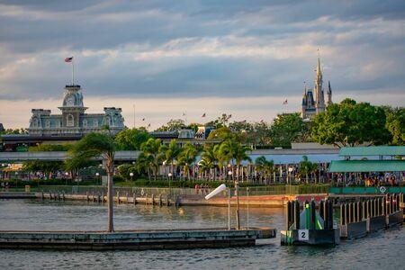 Orlando, Florida. June 03, 2019. Panoramic view of Cinderellas Castle and vintage Train Station at Magic Kingdom in Walt Disney World 1 Редакционное