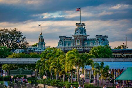 Orlando, Florida. June 03, 2019. Panoramic view of Cinderellas Castle and vintage Train Station at Magic Kingdom in Walt Disney World 3 Редакционное