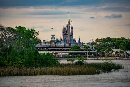 Orlando, Florida. June 03, 2019. Panoramic view of Cinderellas Castle and vintage Train Station at Magic Kingdom in Walt Disney World 4 Редакционное