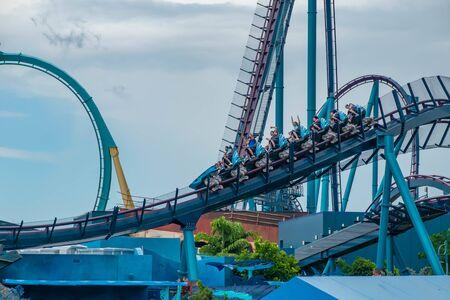 Orlando, Florida. June 17, 2019. Top view of people enjoying terrific Mako rollercoaster at Seaworld 6