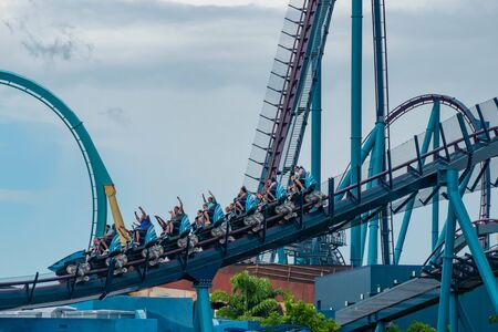 Orlando, Florida. June 17, 2019. Top view of people enjoying terrific Mako rollercoaster at Seaworld 7