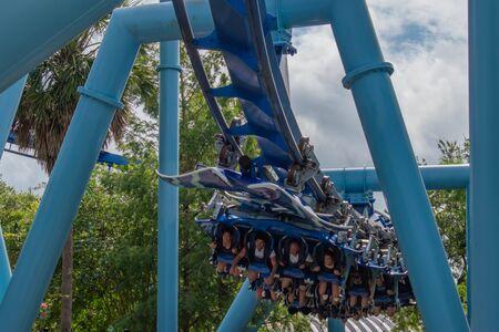 Orlando, Florida. June 17, 2019. Top view of people having fun amazing Manta Ray rollercoaster at Seaworld
