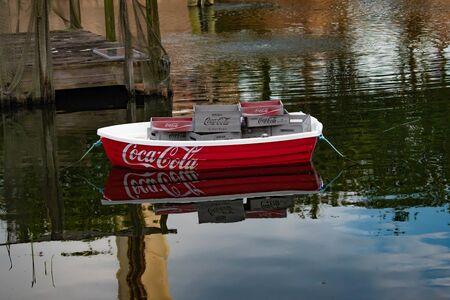 Orlando, Florida. June 23 2019. Colorful Coca Cola boat at Seaworld 1